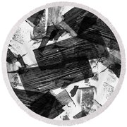 Round Beach Towel featuring the digital art Chunky Abstract Revisited by Chriss Pagani