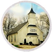 Round Beach Towel featuring the photograph Church 12 by Marty Koch