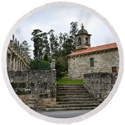 Church And Cemetery In A Small Village In Galicia Round Beach Towel