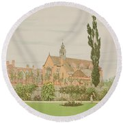 Church And Parsonage, Bedford Park, 1881 Round Beach Towel