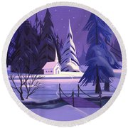 Church In Snow Round Beach Towel