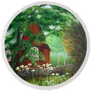 Church In The Glen Round Beach Towel by Laurie Morgan