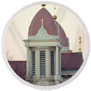 Church Of Gold Crosses Round Beach Towel