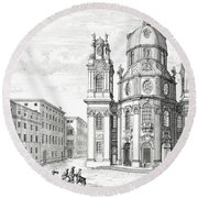 Church Of Notre Dame, Salzburg Round Beach Towel