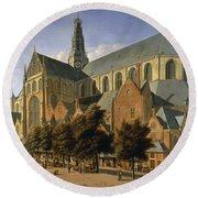 Church Of St. Bavo In Haarlem, 1666 Oil On Panel Round Beach Towel by Gerrit Adriaensz Berckheyde