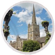 Church Of St John The Baptist Round Beach Towel