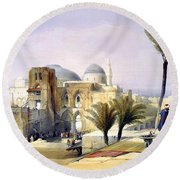 Church Of The Holy Sepulchre In Jerusalem Round Beach Towel