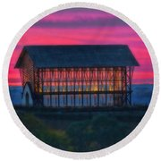 Church On The Hill Round Beach Towel by Elizabeth Winter