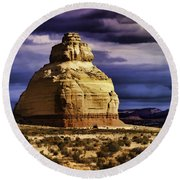 Round Beach Towel featuring the painting Church Rock  by Muhie Kanawati