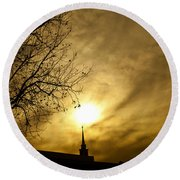Round Beach Towel featuring the photograph Church Steeple Clouds Parting by Jerry Cowart