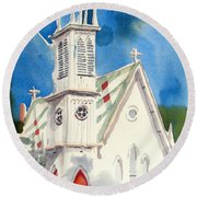 Church With Jet Contrail Round Beach Towel