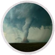 Round Beach Towel featuring the photograph Churning Twister by Ed Sweeney