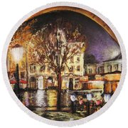 Cieszyn At Night Round Beach Towel