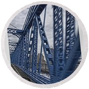 Round Beach Towel featuring the photograph Cincinnati Bridge by Daniel Sheldon