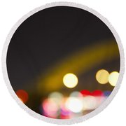Round Beach Towel featuring the photograph Cincinnati Night Lights by Daniel Sheldon