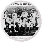 Cincinnati Red Stocking Baseball Team Round Beach Towel