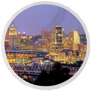 Round Beach Towel featuring the photograph Cincinnati Skyline At Dusk Sunset Color Panorama Ohio by Jon Holiday