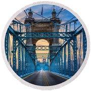 Cincinnati Suspension Bridge Round Beach Towel
