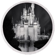 Cinderella's Castle Reflection Black And White Round Beach Towel