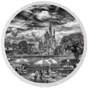 Round Beach Towel featuring the photograph Cinderella's Palace by Howard Salmon