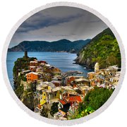 Cinque Terra Round Beach Towel by David Gleeson