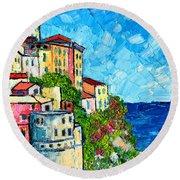 Cinque Terre Italy Manarola Painting Detail 3 Round Beach Towel