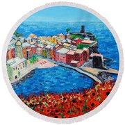 Cinque Terre Vernazza Poppies Round Beach Towel