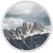 Cinque Torri Area In The Dolomites Round Beach Towel
