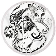 Circle Cat Round Beach Towel