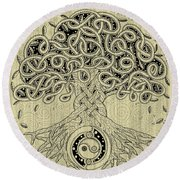 Circle Celtic Tree Of Life Inked Round Beach Towel