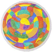Round Beach Towel featuring the painting Life Cycles by Stormm Bradshaw