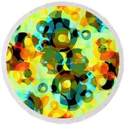 Round Beach Towel featuring the digital art Circles Squared 2 by Shawna Rowe