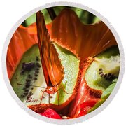 Citrus Butterfly Round Beach Towel by Karen Wiles