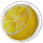 Round Beach Towel featuring the painting Citrus by Marisela Mungia