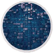 Round Beach Towel featuring the digital art City Abstract by Matt Lindley