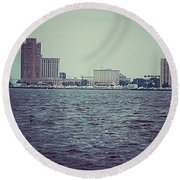 City Across The Sea Round Beach Towel