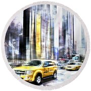City-art Times Square II Round Beach Towel by Melanie Viola