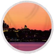 City At Dusk, Chateau Frontenac Hotel Round Beach Towel