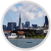 City At The Waterfront, Coit Tower Round Beach Towel
