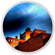 Old Buildings Of New York City With Ghost Ad - City Blocks - Building Blocks Series - Vertical Round Beach Towel