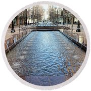 Round Beach Towel featuring the photograph City Creek Fountain - 1 by Ely Arsha
