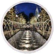 Round Beach Towel featuring the photograph City Creek Fountain - 2 by Ely Arsha
