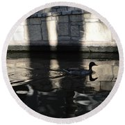 Round Beach Towel featuring the photograph City Ducks by Shawn Marlow