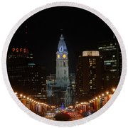 City Hall At Night Round Beach Towel