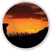 Round Beach Towel featuring the photograph City In A Palm Of Rock by Miroslava Jurcik