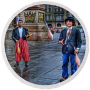 Round Beach Towel featuring the photograph City Jugglers by Ron Shoshani