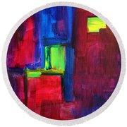 City Life Abstract Round Beach Towel