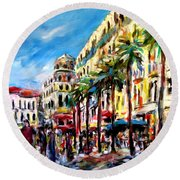 City Life Round Beach Towel