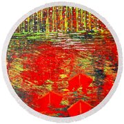City Lights - Sold Round Beach Towel by George Riney