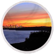 Round Beach Towel featuring the photograph City Lights In The Sunset by Miroslava Jurcik